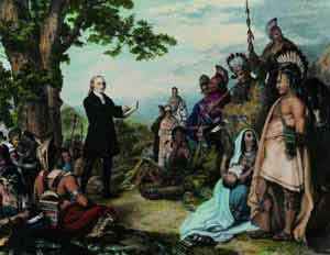 Уэсли проповедует в Америке перед индейцами