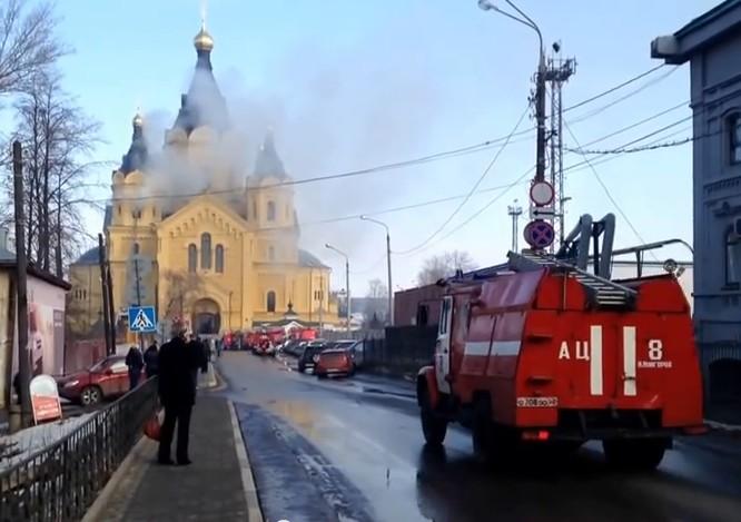 Пожар на колокольне в храме Александра Невского Нижний Новгород